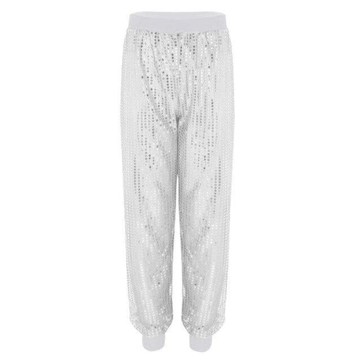 Fashion Glitter Sequins Stage Trousers Dancewear | Bridelily - White / S - dancewear
