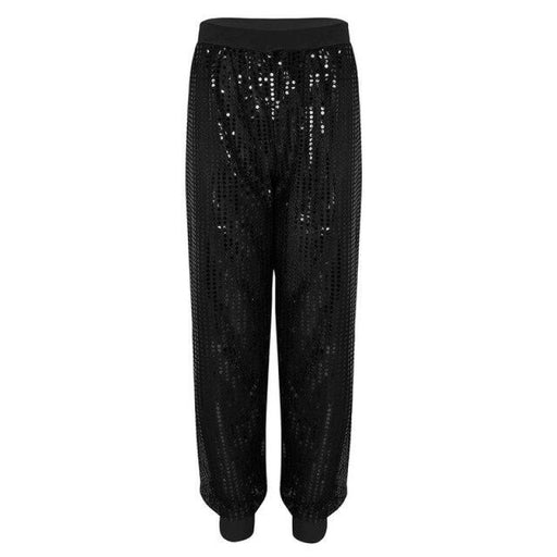 Fashion Glitter Sequins Stage Trousers Dancewear | Bridelily - Black / S - dancewear