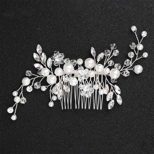Fashion Handmade Crystal Pearls Combs & Barrettes | Bridelily - White - combs & barrettes