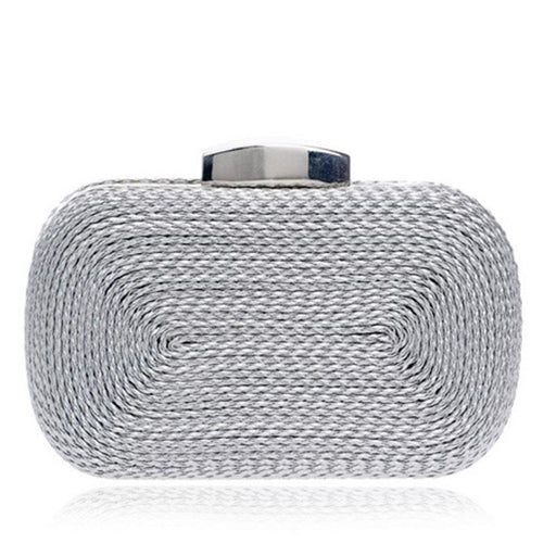 Fashion Knitted Metal Clutches Wedding Handbags | Bridelily - YM1013silver - wedding handbags