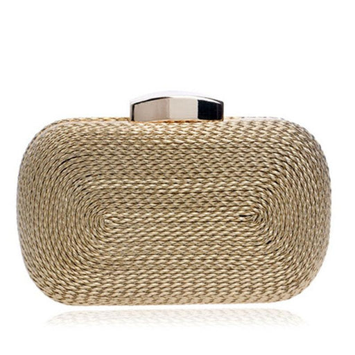 Fashion Knitted Metal Clutches Wedding Handbags | Bridelily - YM1013gold - wedding handbags