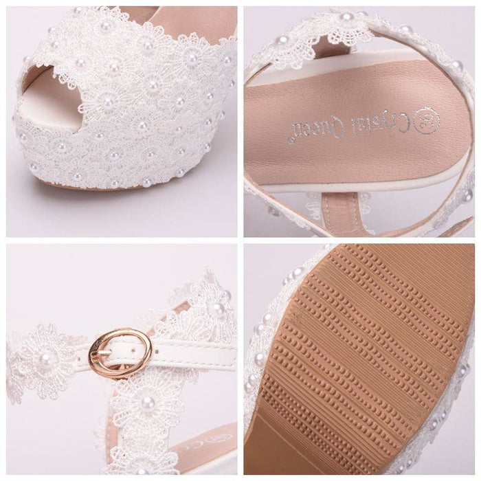 Fashion Lace High Heels Wedding Sandals | Bridelily - wedding sandals
