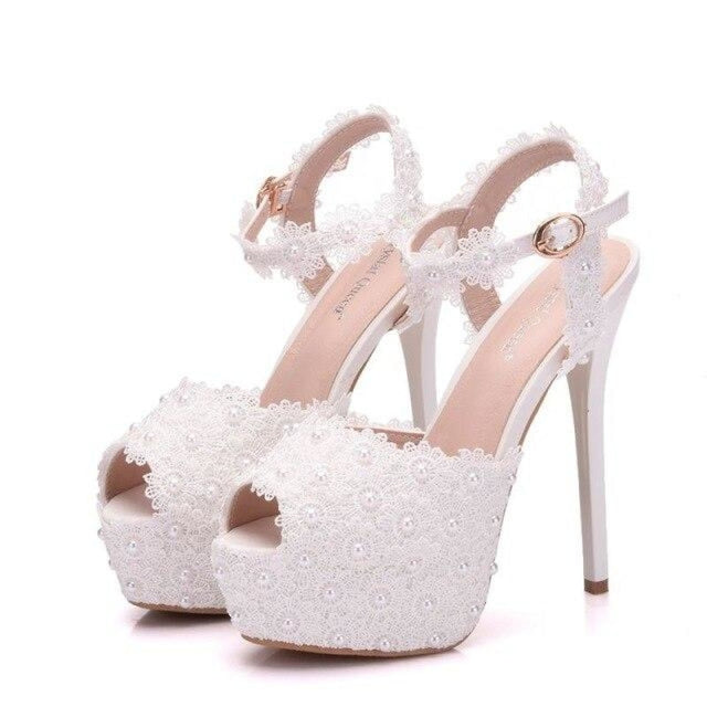 Fashion Lace High Heels Wedding Sandals | Bridelily - WHITE / 34 - wedding sandals