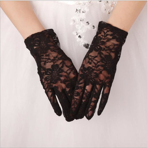Fashion Lace White Lace Short Wedding Gloves | Bridelily - wedding gloves