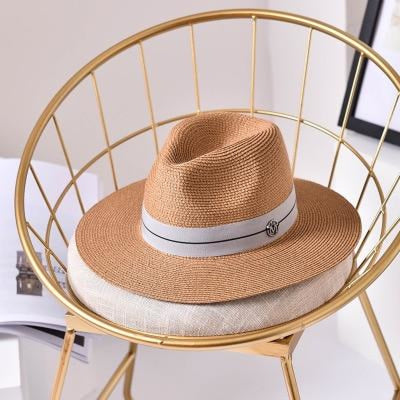 Fashion Letter Sun Straw Casual Beach/Sun Hats | Bridelily - Khaki / 56-58cm - beach/sun hats