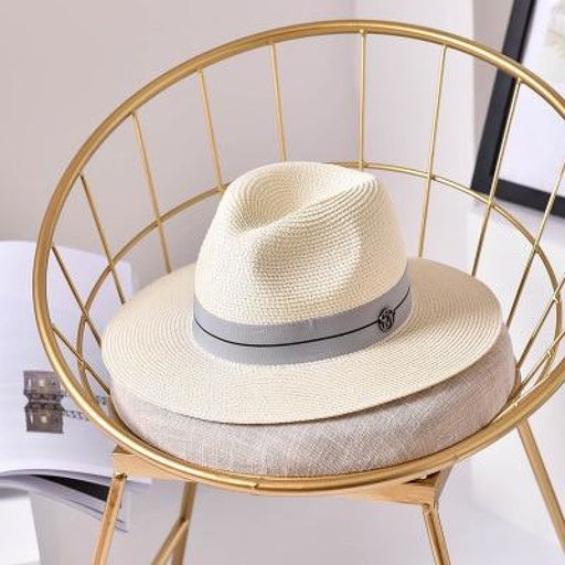 Fashion Letter Sun Straw Casual Beach/Sun Hats | Bridelily - Milk white / 56-58cm - beach/sun hats