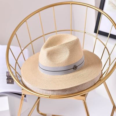 Fashion Letter Sun Straw Casual Beach/Sun Hats | Bridelily - Beige / 56-58cm - beach/sun hats