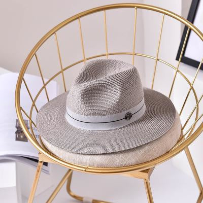 Fashion Letter Sun Straw Casual Beach/Sun Hats | Bridelily - Grey / 56-58cm - beach/sun hats