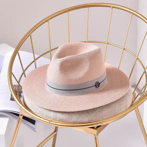 Fashion Letter Sun Straw Casual Beach/Sun Hats | Bridelily - Pink / 56-58cm - beach/sun hats