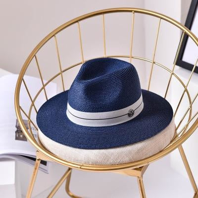 Fashion Letter Sun Straw Casual Beach/Sun Hats | Bridelily - Navy / 56-58cm - beach/sun hats