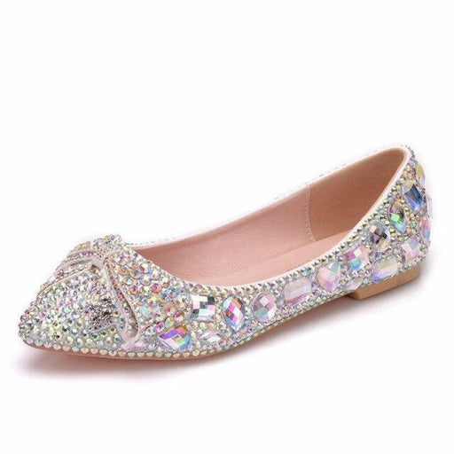 Fashion Low Heel Pointed Toe Wedding Flats | Bridelily - AB / 34 - wedding flats