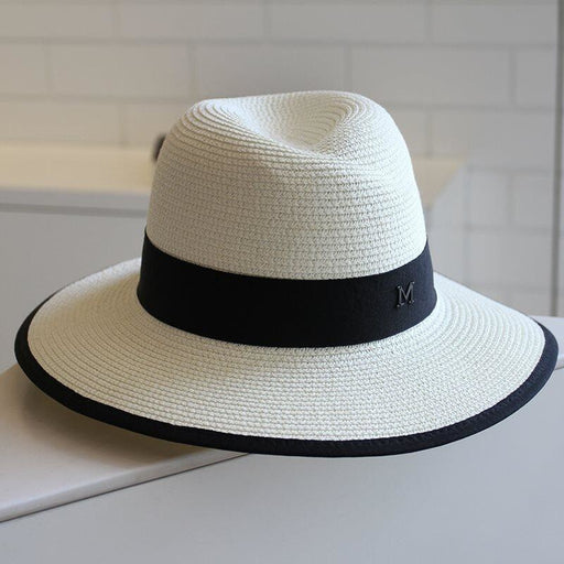 Fashion M Letter Straw Large Brim Beach/Sun Hats | Bridelily - 2 - beach/sun hats