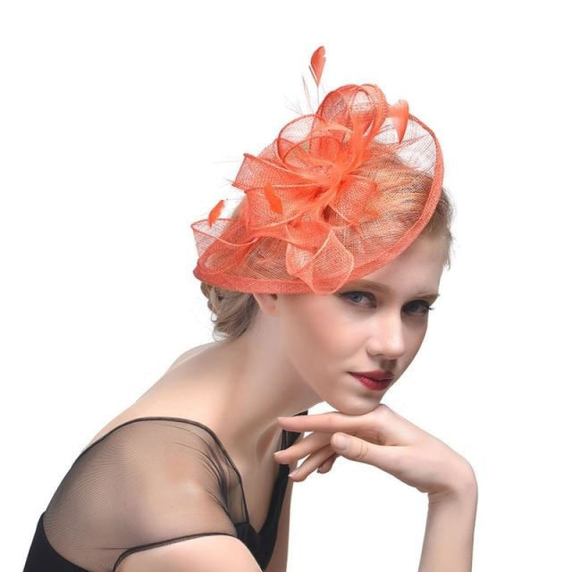 Fashion Mesh Flower Feather Tea Party Hats | Bridelily - tea party hats