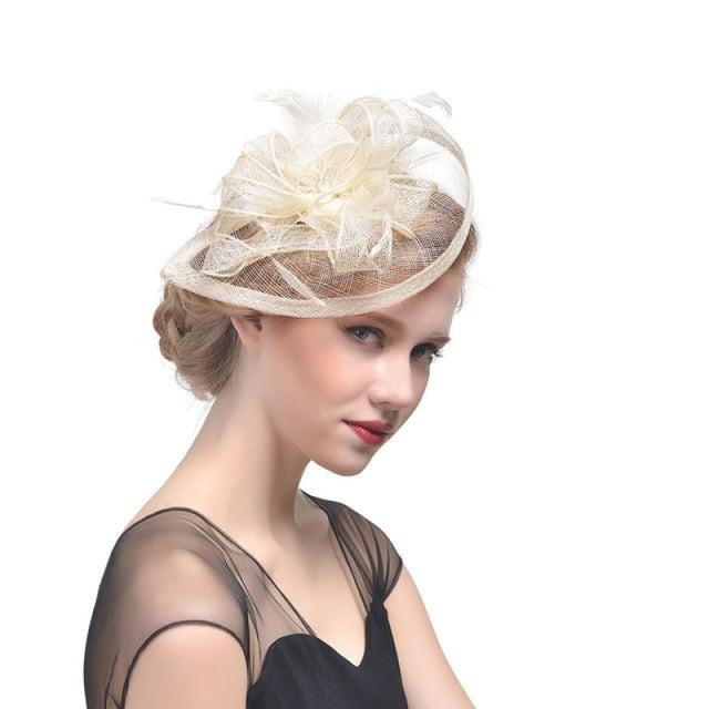 Fashion Mesh Flower Feather Tea Party Hats | Bridelily - Beige - tea party hats