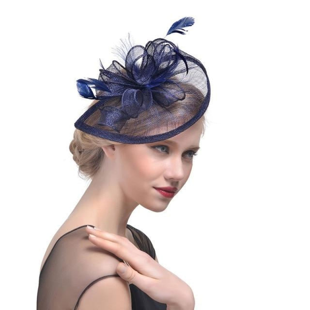 Fashion Mesh Flower Feather Tea Party Hats | Bridelily - Navy - tea party hats