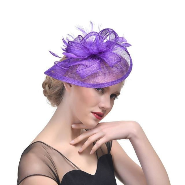 Fashion Mesh Flower Feather Tea Party Hats | Bridelily - Purple - tea party hats