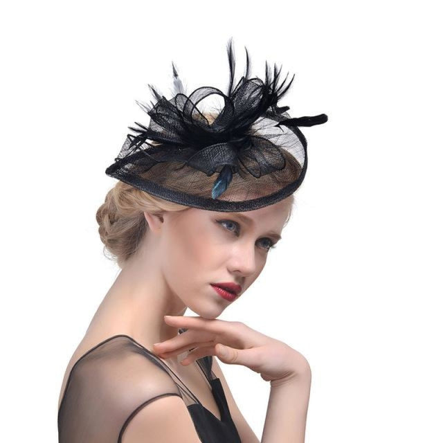 Fashion Mesh Flower Feather Tea Party Hats | Bridelily - Black - tea party hats