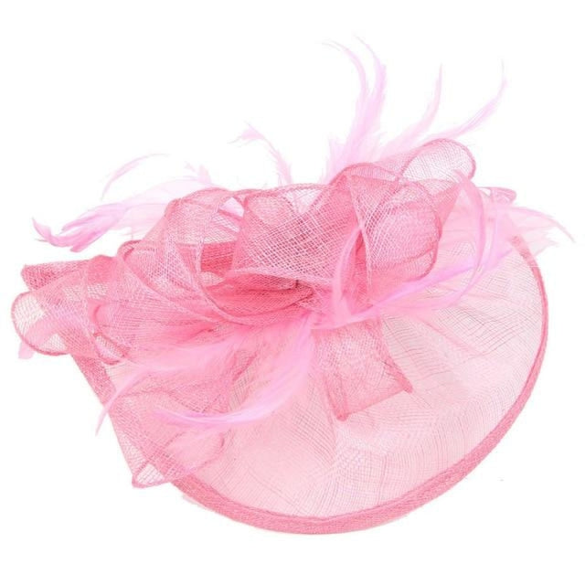 Fashion Mesh Flower Feather Tea Party Hats | Bridelily - Pink - tea party hats