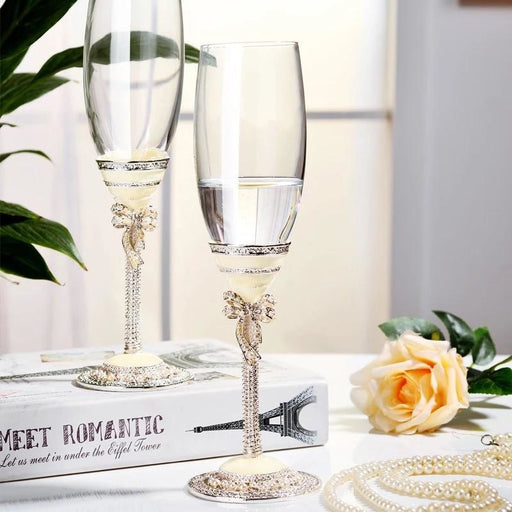 Fashion Metal Goblet Decorated Toasting Flutes | Bridelily
