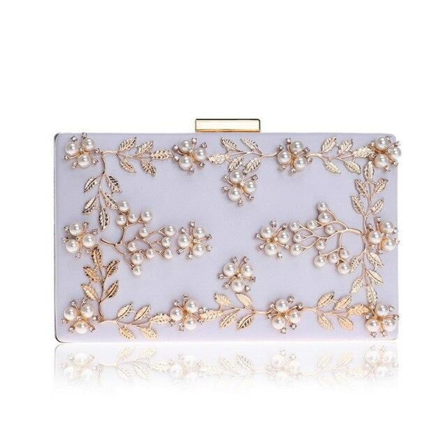 Fashion Metal Leaf Pearl Flower Wedding Handbags | Bridelily - White - wedding handbags