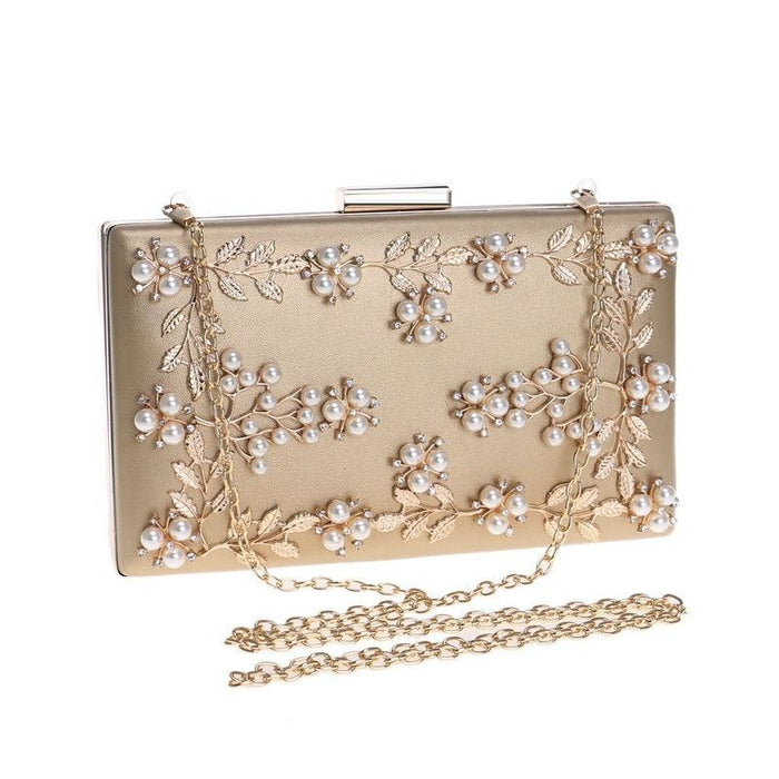 Fashion Metal Leaf Pearl Flower Wedding Handbags | Bridelily - wedding handbags