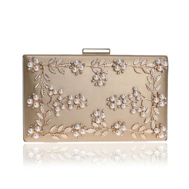 Fashion Metal Leaf Pearl Flower Wedding Handbags | Bridelily - Gold - wedding handbags