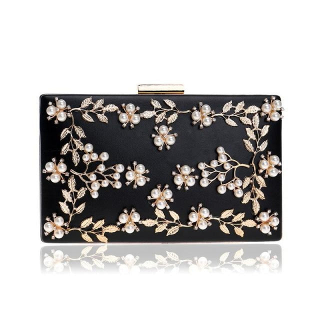 Fashion Metal Leaf Pearl Flower Wedding Handbags | Bridelily - Black - wedding handbags