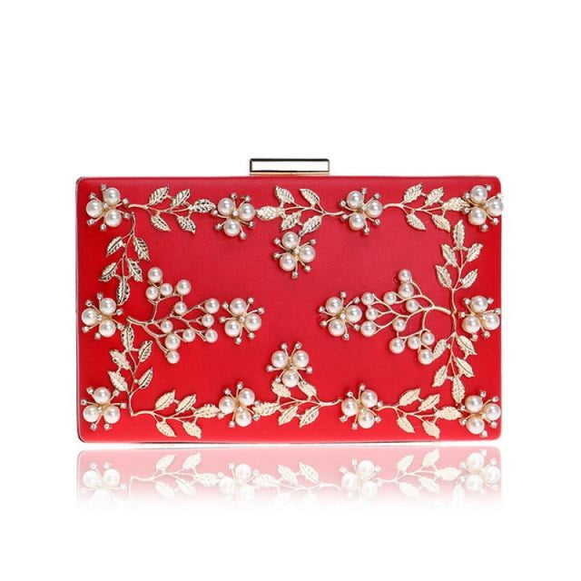 Fashion Metal Leaf Pearl Flower Wedding Handbags | Bridelily - Red - wedding handbags