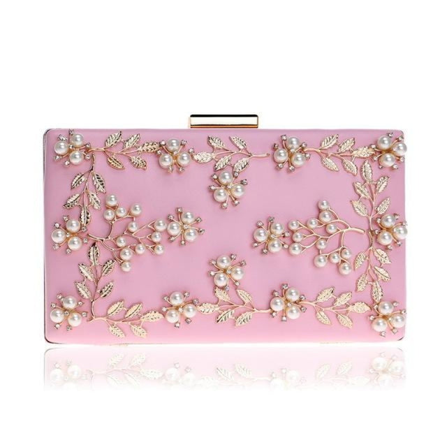 Fashion Metal Leaf Pearl Flower Wedding Handbags | Bridelily - Pink - wedding handbags