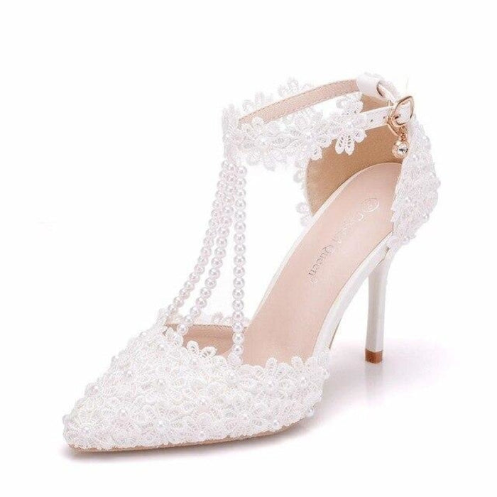 Fashion Pearl Pointed Toe Wedding Sandals | Bridelily - wedding sandals