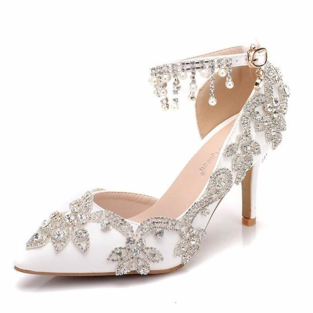 Fashion Pearl Pointed Toe Wedding Sandals | Bridelily - WHITE / 34 - wedding sandals
