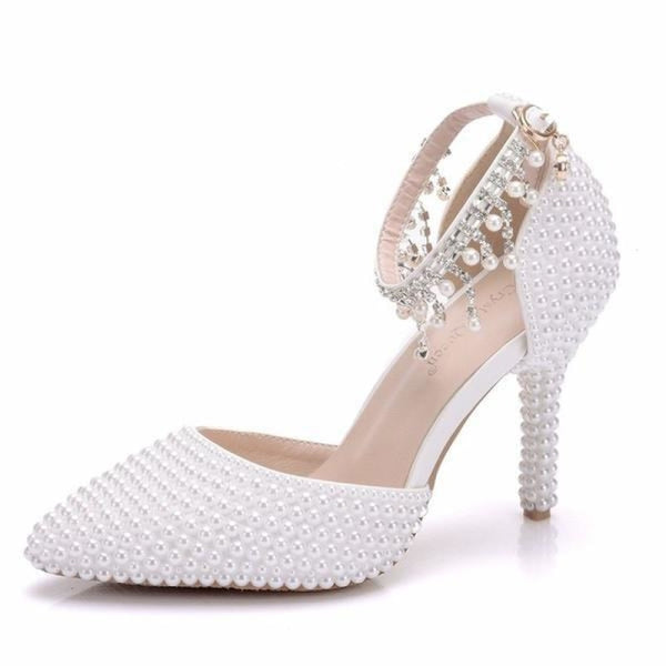 Fashion Pointed Toe Pearl Wedding Sandals | Bridelily - WHITE / 34 - wedding sandals