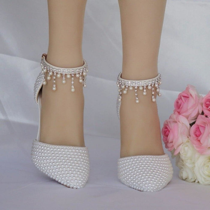 Fashion Pointed Toe Pearl Wedding Sandals | Bridelily - wedding sandals