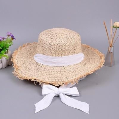 Fashion Raffia Ribbon Lace Kentucky Derby Hats | Bridelily - Straw white / 56-58cm - beach/sun hats