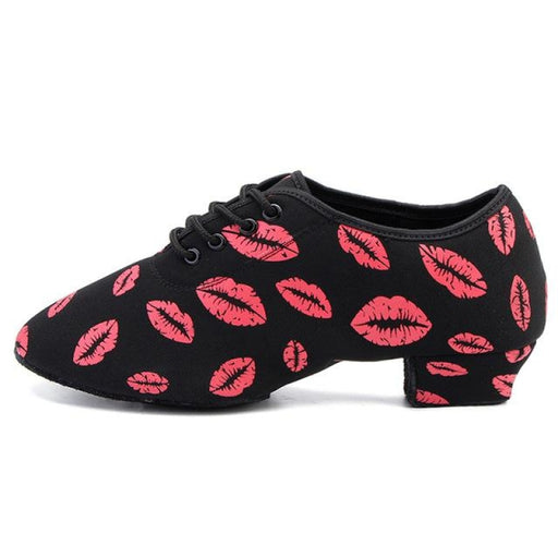 Fashion Red Lip Heeled Sneaker Latin Dance Shoes | Bridelily - Black 3CM / 3.5 - jazz dance shoes