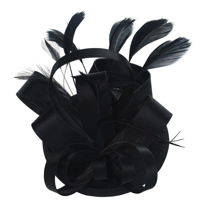 Fashion Retro Veil Feather Flower Clip Fascinators | Bridelily - black - fascinators