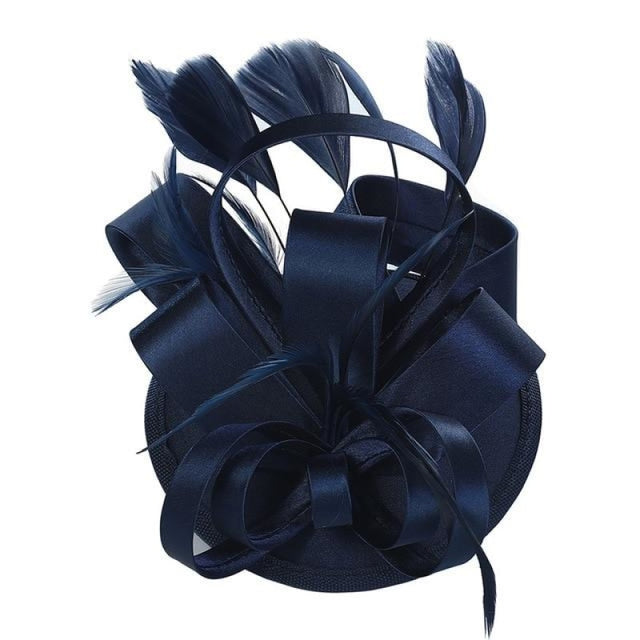 Fashion Retro Veil Feather Flower Clip Fascinators | Bridelily - Blue - fascinators