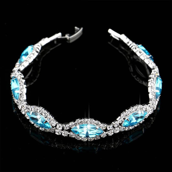 Fashion Rhineston Handmade Blue Wedding Bracelets | Bridelily - bracelets