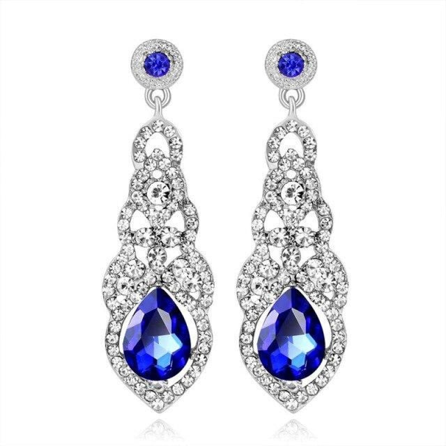 Fashion Rhinestone Flower Long Wedding Earrings | Bridelily - blue - earrings