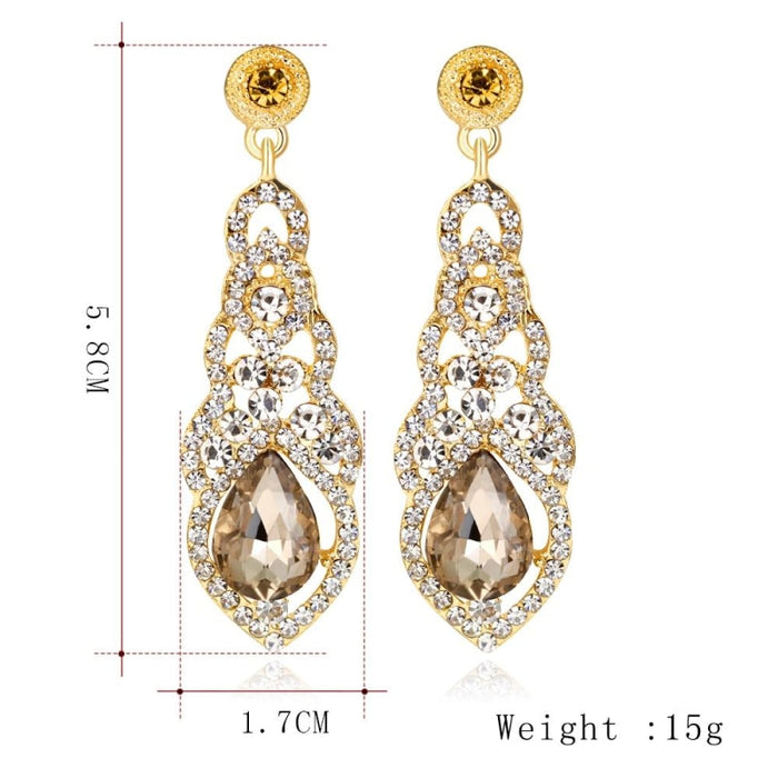 Fashion Rhinestone Flower Long Wedding Earrings | Bridelily - earrings