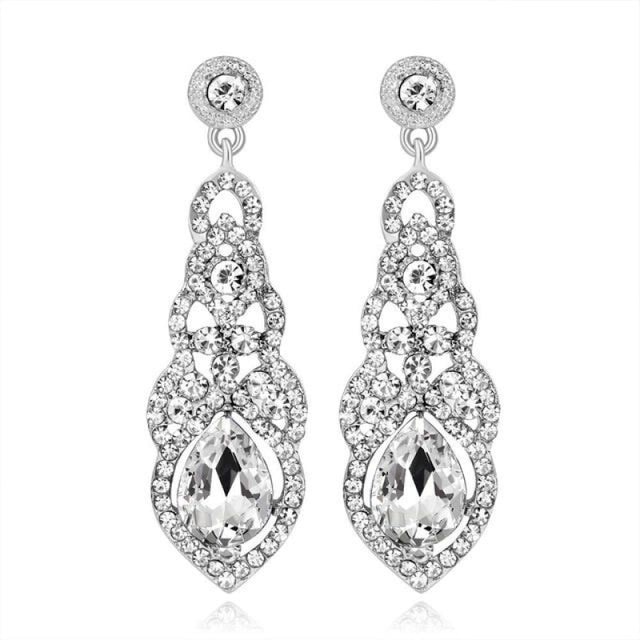 Fashion Rhinestone Flower Long Wedding Earrings | Bridelily - clear - earrings
