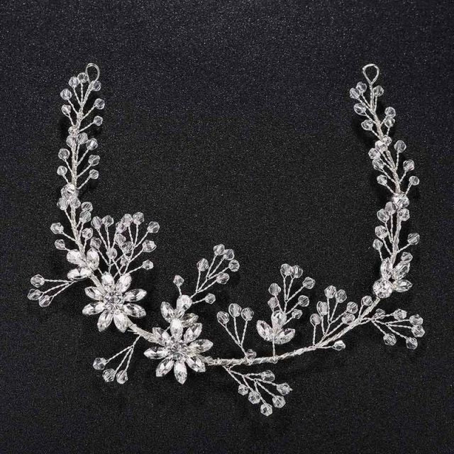 Fashion Rhinestone Handmade Womens Headbands | Bridelily - Silver - headbands