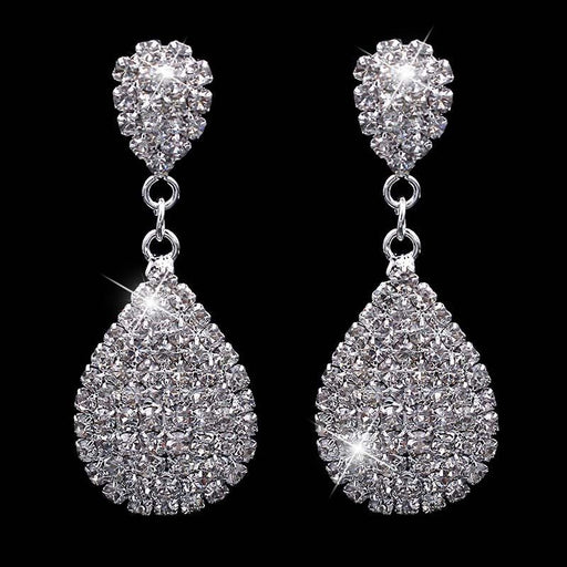 Fashion Rhinestone Waterdrop Wedding Earrings | Bridelily - earrings