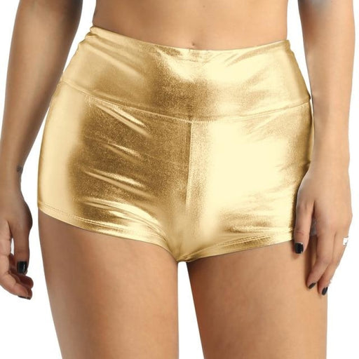 Fashion Shiny High Waist Sports Shorts Dancewear | Bridelily - Gold / S - dancewear