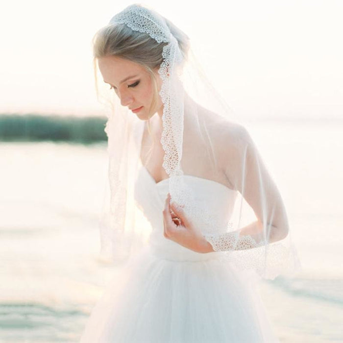 Fashion Short Round Pleated Lace Wedding Veils | Bridelily - wedding veils