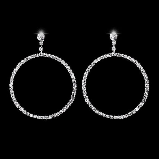 Fashion Silver Crystal Round Drop Bridal Earrings | Bridelily - earrings