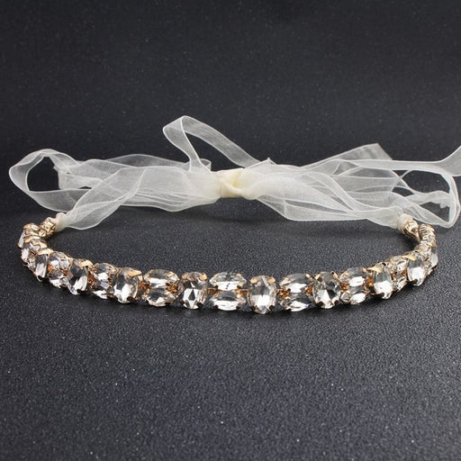 Fashion Simple Crystal Handmade Headbands | Bridelily - Gold - headbands