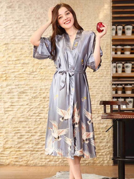 Fashion Sleepwear Wedding Robes | Bridelily - Gray - Long / M - robes