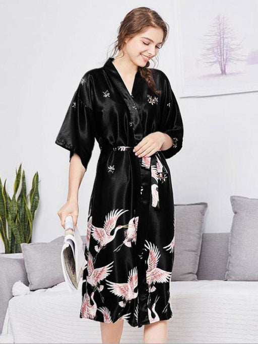 Fashion Sleepwear Wedding Robes | Bridelily - Black - Long / M - robes