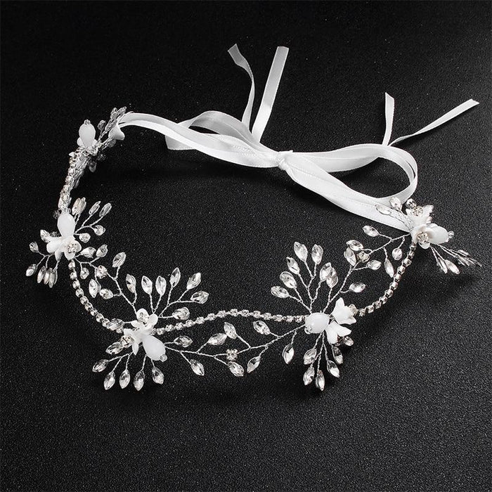 Fashion Small White Flower Crystal Headbands | Bridelily - headbands